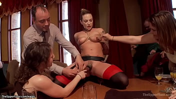 Sexy blonde House slave Dahlia Sky is bound and served on the dinning table then pussy fucked by big cock Barry Scott in bdsm orgy party in the Upper Floor