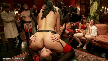Group of hot service sluts licking and fucking huge dicks and enduring pain and submitting to masters and guests at bdsm orgy party in the Upper Floor