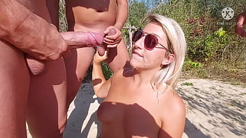 Woman alone at the beach cuckolds her husband while he is not there !! And all those cocks only for her ..