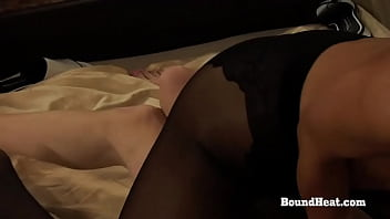 Two hot ladies in sexy black lingerie fingering each other and masturbating their tight shaved pussies