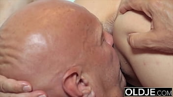 Young babe sucks old man cock and she gets ass fucked by him