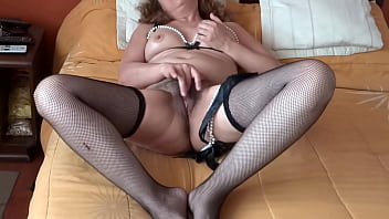Mature mother has orgasms as she watches her stepson jerk off her with his huge cock