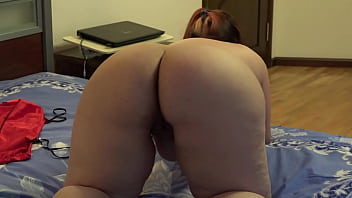 Mature BBW with a rubber dick fucks her anal and masturbates her hairy pussy, her juicy PAWG is shaking doggy style