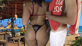I went to a Beach Party and Grabbed the Big Butt of an Unknown Married Latina Milf While at the same time Grinding my Cock on her Big Hips and she liked!