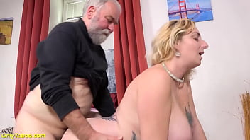 horny grandpa enjoys a wild ride with a big natural breast milf who likes to fuck in the ninth month of her pregnancy