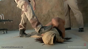 Rebel soldier James Deen fingers and anal fucks captured babe Casey Calvert in strappado bondage in Campus in a desert while photographer Lyla Storm spying them
