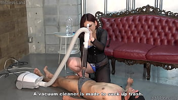 Japanese Mistress uses vacuum cleaner to suck slave's cock