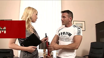 Pervy Blonde Seduces the Office Cleaner