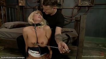 Huge tits blonde babe Summer Brielle gets nipples clamped then pussy and mouth fucked till gets blindfolded and zippered by big cock Mr Pete in basement